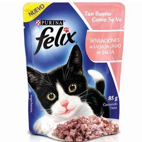 Snacks-para-gato-FELIX-SENSACIONES-de-Salmon-y-Pavo-en-SalsaPURINA-Salmon----85gr