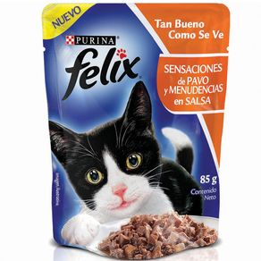 Snacks-para-gato-FELIX-SENSACIONES-de-Pavo-y-Menudencias-en-SalsaPURINA-Pavo---85gr