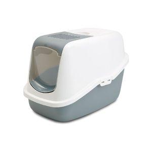 Arenera-para-Gato-oscar-sanitario-con-tapa-y-filtro-50x37x39cm-color-blanco-gris-SAVIC-