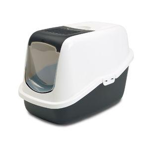 Arenera-para-Gato-nestor-sanitario-con-tapa-y-filtro-56x39x38.5cm-color-blanco-gris-SAVIC-