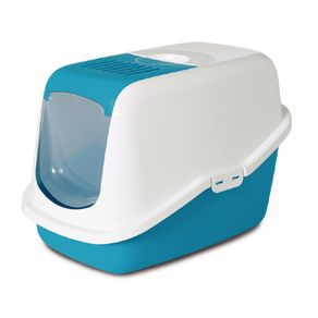 Arenera-para-Gato-nestor-sanitario-con-tapa-y-filtro-56x39x38.5cm-color-blanco-verde-limon-SAVIC-