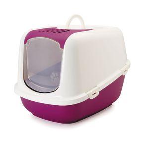 Arenera-para-Gato-nestor-sanitario-con-tapa-y-filtro-56x39x38.5cm-color-blanco-fucsia-SAVIC-